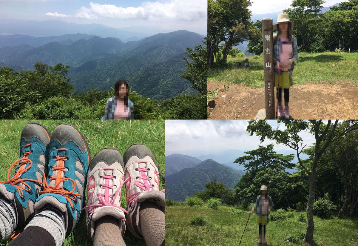 鍋割山 山頂からの景色とシューズ
