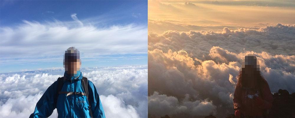 富士山頂 御来光後と早朝