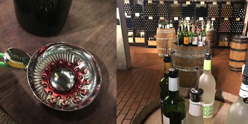 試飲カップとワインセラー